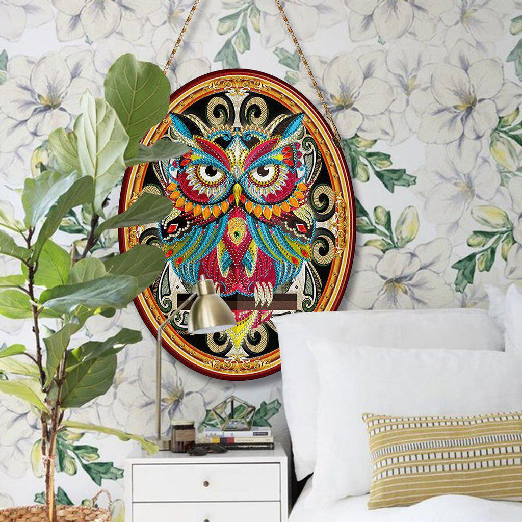 Bedazzled Relic Owl - DIY Diamond Painting Wall Pendants-EasyWhim