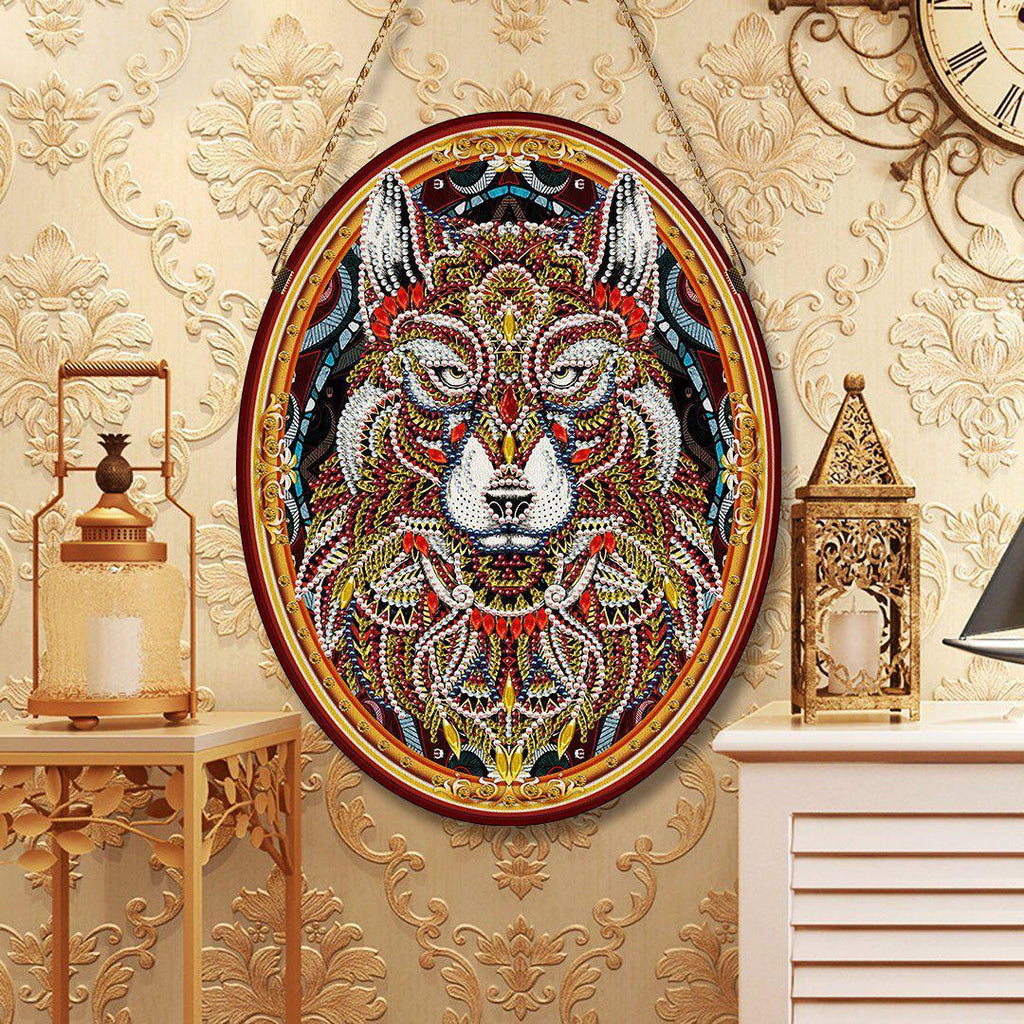 Bedazzled Wolf Legend - DIY Diamond Painting Wall Pendants-EasyWhim