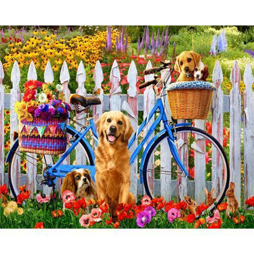 Bike Puppy - DIY Oil Painting on Canvas - Paint By Numbers-EasyWhim