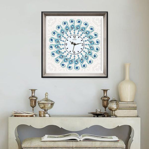 Blue Blings Clock - DIY 5D Diamond Painting Clock-EasyWhim