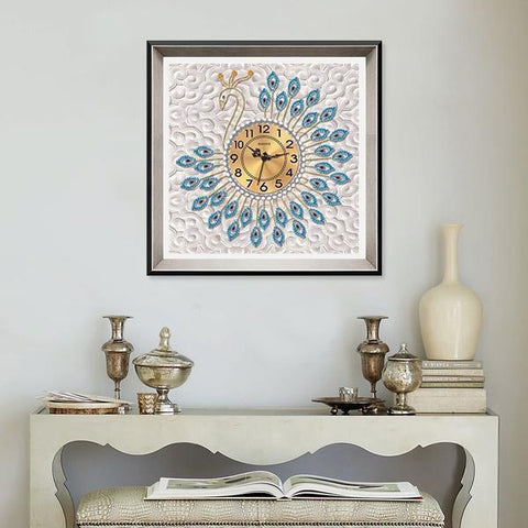 Blue Luxury Peacock Clock - DIY 5D Diamond Painting Clocks-EasyWhim