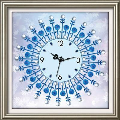 Blue Rose Clock - DIY 5D Diamond Painting Clocks-EasyWhim