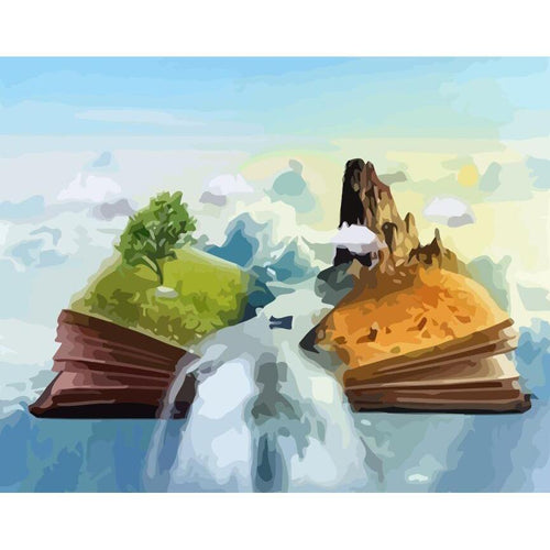 Book Falls - DIY Oil Painting on Canvas - Paint By Numbers-EasyWhim
