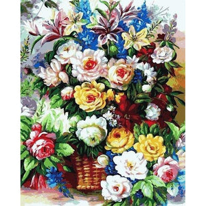 Bunch of Flowers - DIY Oil Painting on Canvas - Paint By Numbers-EasyWhim