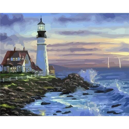Calm Lighthouse - DIY Oil Painting on Canvas - Paint By Numbers-EasyWhim