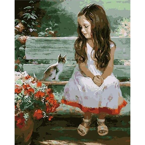 Cat and Girl - DIY Oil Painting on Canvas - Paint By Numbers-EasyWhim