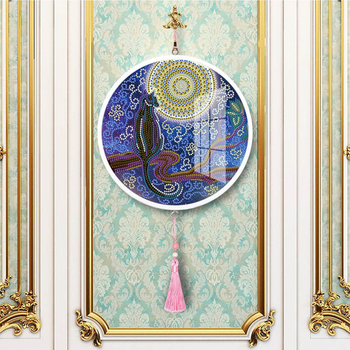 Cat and Moon - DIY Diamond Painting Wall Pendants-EasyWhim