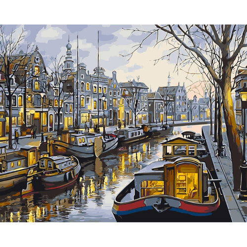 City Canals - DIY Oil Painting on Canvas - Paint By Numbers-EasyWhim