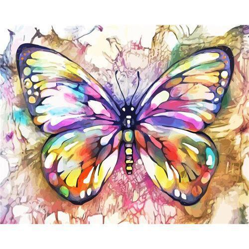 Color Bloom Butterfly - DIY Oil Painting on Canvas - Paint By Numbers-EasyWhim