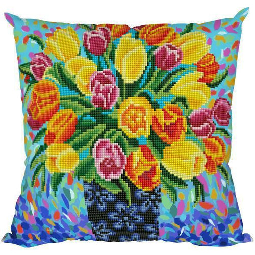 Colorful Tulips - DIY Diamond Painting Cushions-EasyWhim
