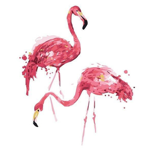 Couple Flamingo - DIY Oil Painting on Canvas - Paint By Numbers-EasyWhim