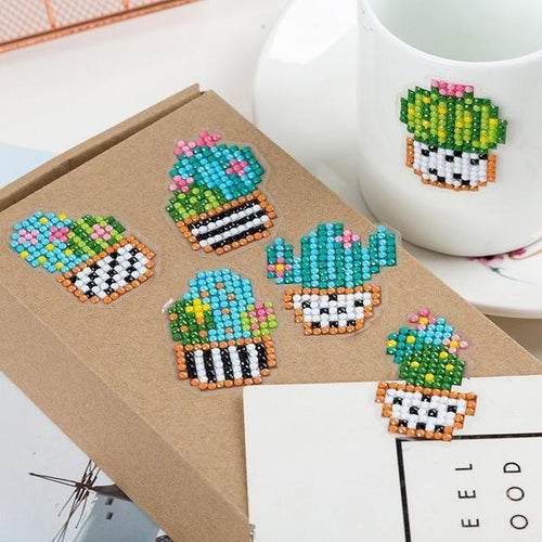 Cute Cactus Stickers (6 Pack) - 5D Diamond Painting-EasyWhim