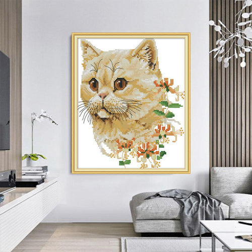 Cute Flower Kitty - Cross Stitch Kit-EasyWhim