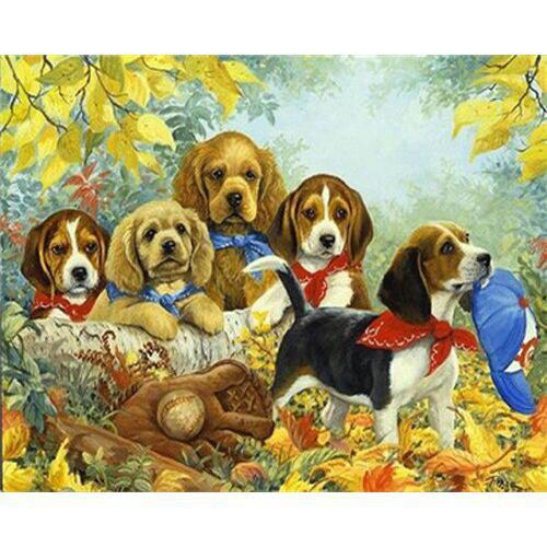Dog Scouts - DIY Oil Painting on Canvas - Paint By Numbers-EasyWhim