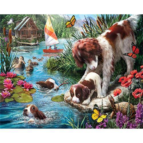 Dogs on Pond - DIY Oil Painting on Canvas - Paint By Numbers-EasyWhim