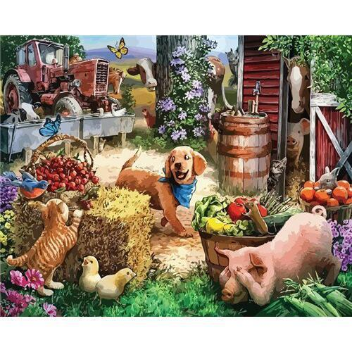 Farm Animals - DIY Oil Painting on Canvas - Paint By Numbers-EasyWhim