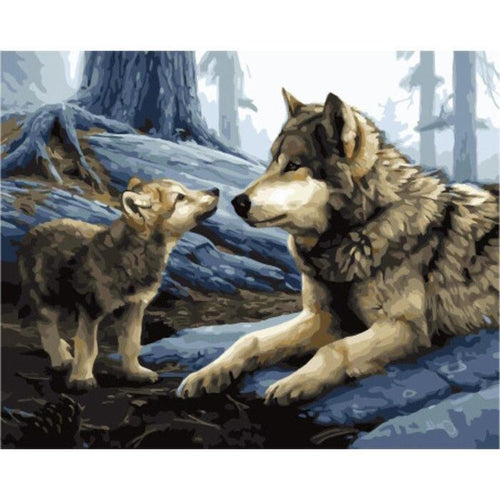 Father and Son Wolves - DIY Oil Painting on Canvas - Paint By Numbers-EasyWhim