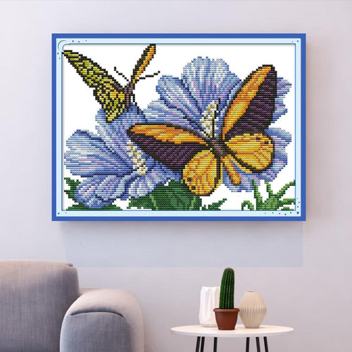 Floral Butterflies - Cross Stitch Kit-EasyWhim