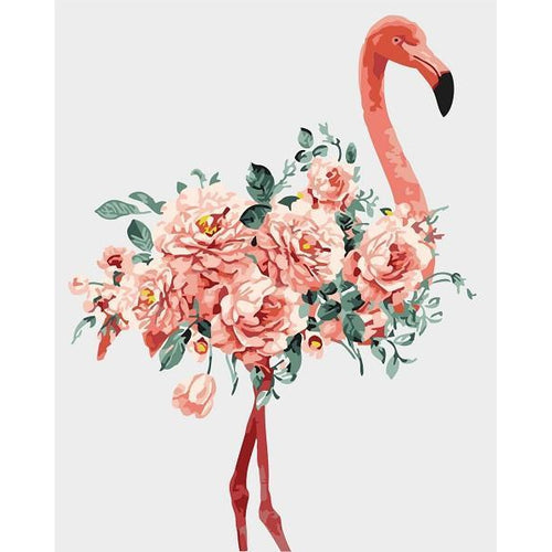 Flower Flamingo - DIY Oil Painting on Canvas - Paint By Numbers-EasyWhim