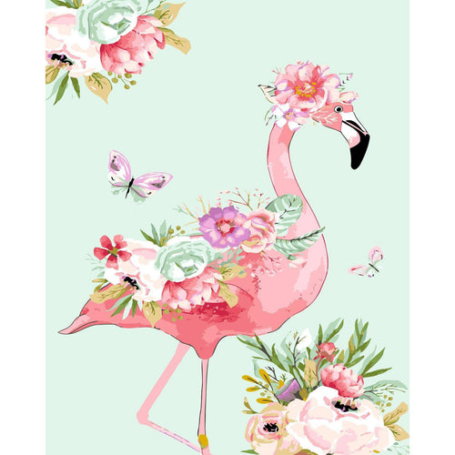 Flowery Flamingo - DIY Oil Painting on Canvas - Paint By Numbers-EasyWhim