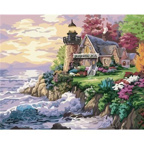 Flowery Lighthouse - DIY Oil Painting on Canvas - Paint By Numbers-EasyWhim