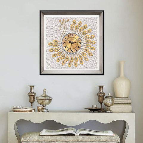 Golden Peacock Clock - DIY 5D Diamond Painting Clocks-EasyWhim