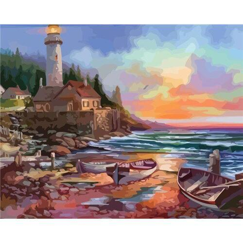 Harbor Lighthouse - DIY Oil Painting on Canvas - Paint By Numbers-EasyWhim