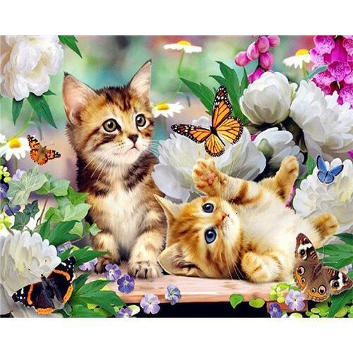 Kitties and Butterfies - DIY Oil Painting on Canvas - Paint By Numbers-EasyWhim