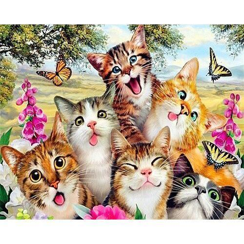 Kitties and Butterflies - DIY Oil Painting on Canvas - Paint By Numbers-EasyWhim