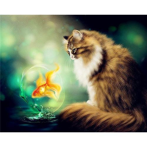 Kitty Fish - DIY Oil Painting on Canvas - Paint By Numbers-EasyWhim