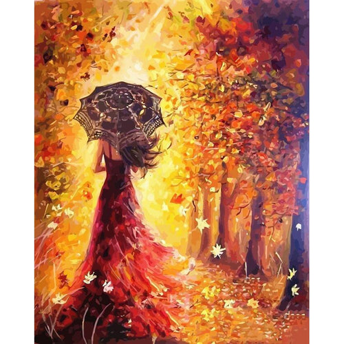 Lady in the Woods - DIY Oil Painting on Canvas - Paint By Numbers-EasyWhim