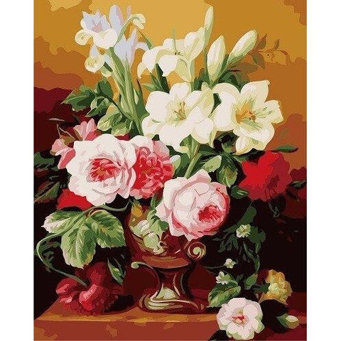 Multi Flowers - DIY Oil Painting on Canvas - Paint By Numbers-EasyWhim