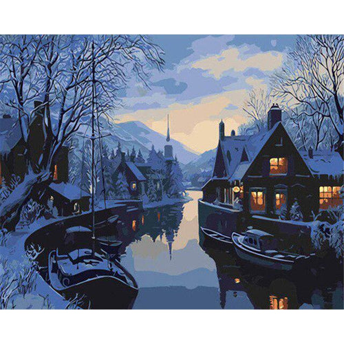 Night Village - DIY Oil Painting on Canvas - Paint By Numbers-EasyWhim
