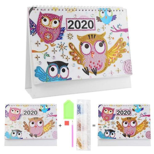 Owl Family - DIY Diamond Painting 2020 Calendar-EasyWhim