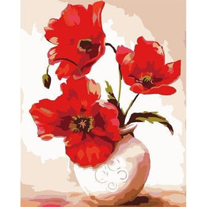Red Vase - DIY Oil Painting on Canvas - Paint By Numbers-EasyWhim