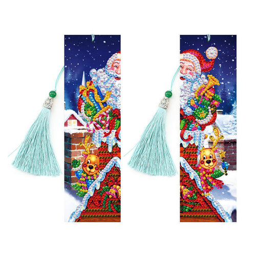 Santa on Roof - DIY Diamond Painting Bookmarks-EasyWhim