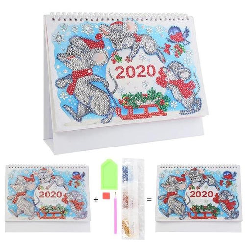Snow Mouse - DIY Diamond Painting 2020 Calendar-EasyWhim