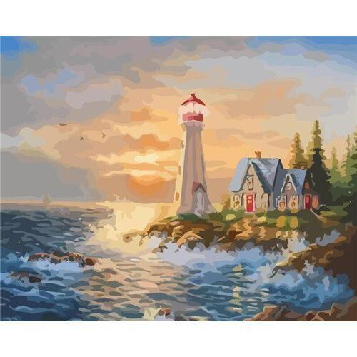 Sun Lighthouse - DIY Oil Painting on Canvas - Paint By Numbers-EasyWhim