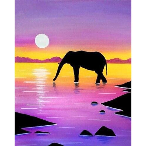 Sunset Elephant - DIY Oil Painting on Canvas - Paint By Numbers-EasyWhim