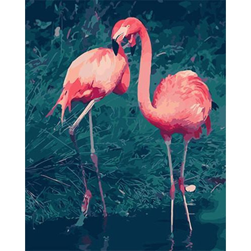 Two Flamingos - DIY Oil Painting on Canvas - Paint By Numbers-EasyWhim