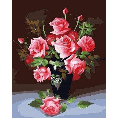 Vase of Roses - DIY Oil Painting on Canvas - Paint By Numbers-EasyWhim