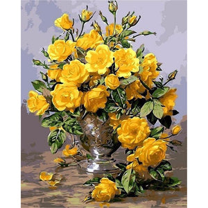 Yellow Flowers - DIY Oil Painting on Canvas - Paint By Numbers-EasyWhim