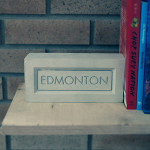 City of Edmonton concrete brick book end