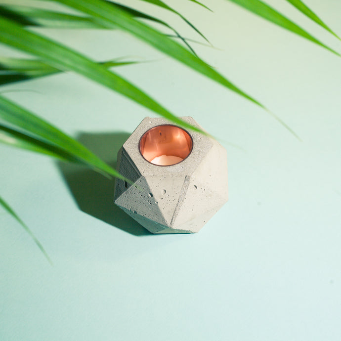 Facets Concrete Candle Holder