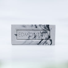 City of Edmonton concrete brick book end marble like