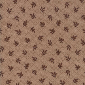 Hickory Road: Leaves Tonal Medium Brown