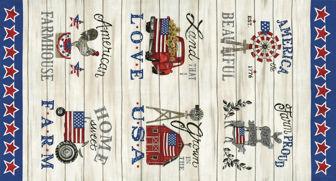 Land That I Love: Patriotic Panel Barnwood White