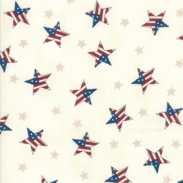 Land That I Love: Tossed Flag Stars Barnwood White
