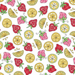 Lil' Sprout Flannel Too!: Strawberries N Lemons White