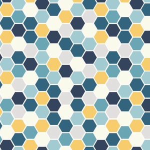 Make Yourself At Home: Mini Hexagons Blue/Sunshine